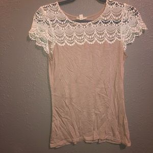 NORDSTROM • Lace Sleeve Shirt